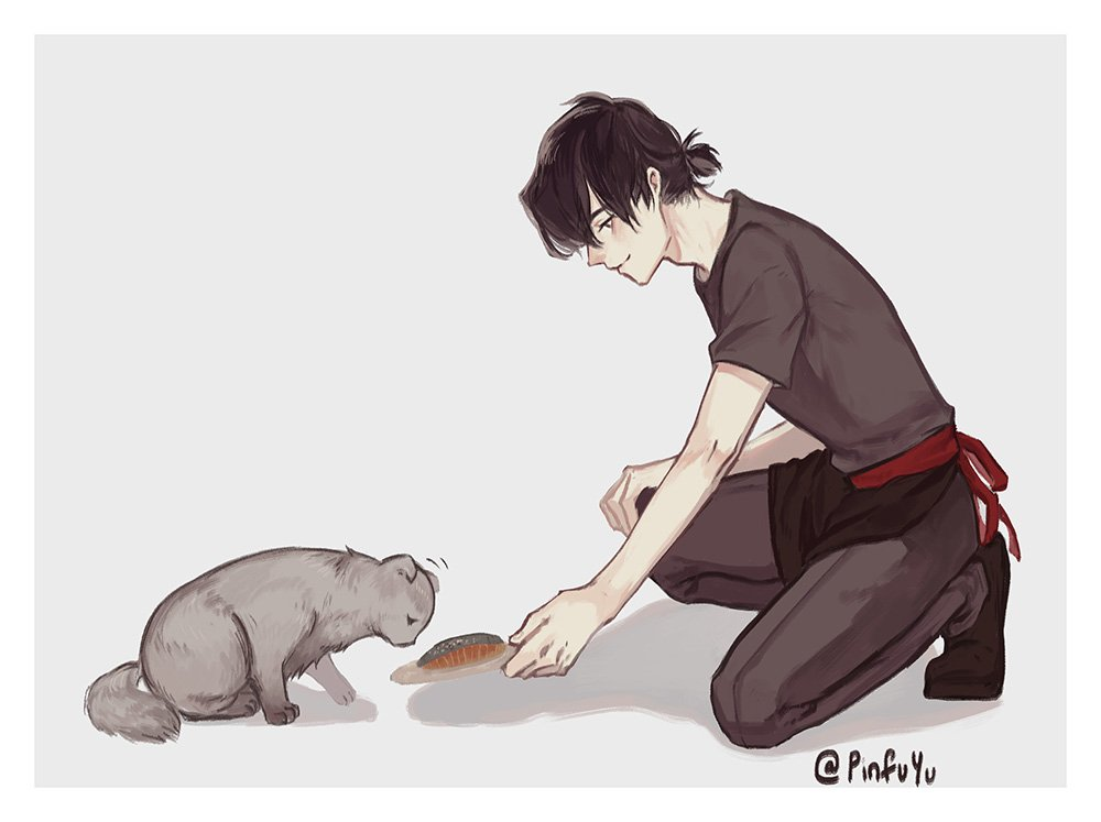 cafe au - again °////° he is feeding a cat which later on sheith will adopt and have him in the cafe.