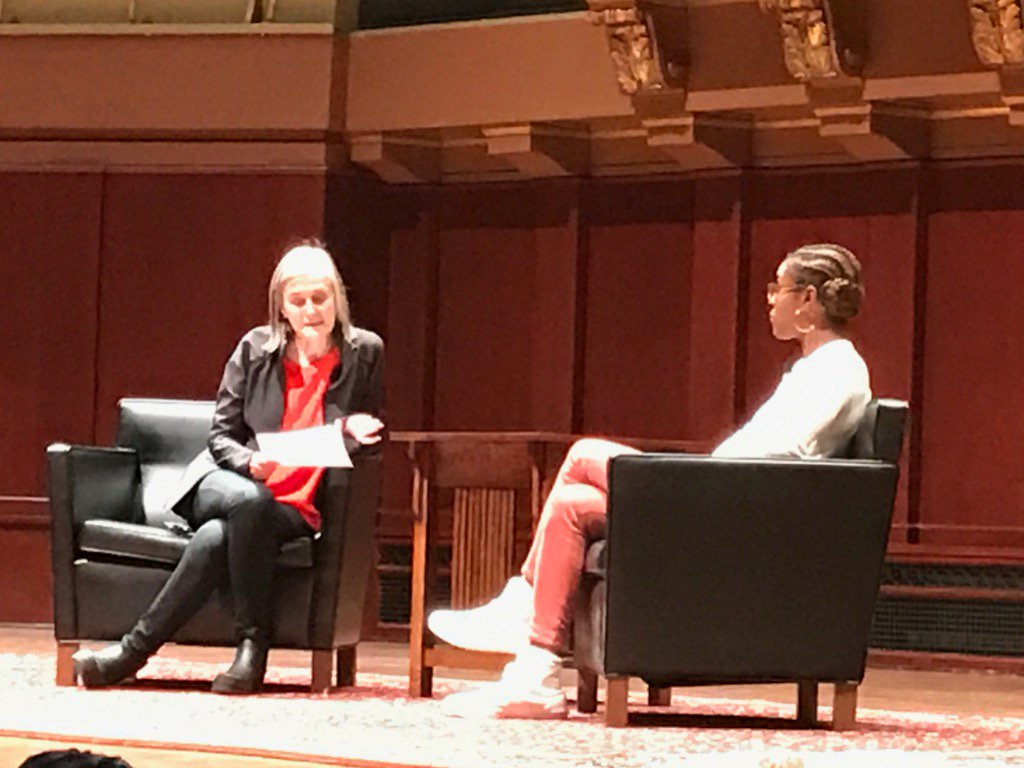 Issa Rae takes stage now to interview w/ Amy Goodman of Democracy Now-crowd goes crazy! #UMichMLKDay2017 @A2schools https://t.co/0L1XH2IVZk