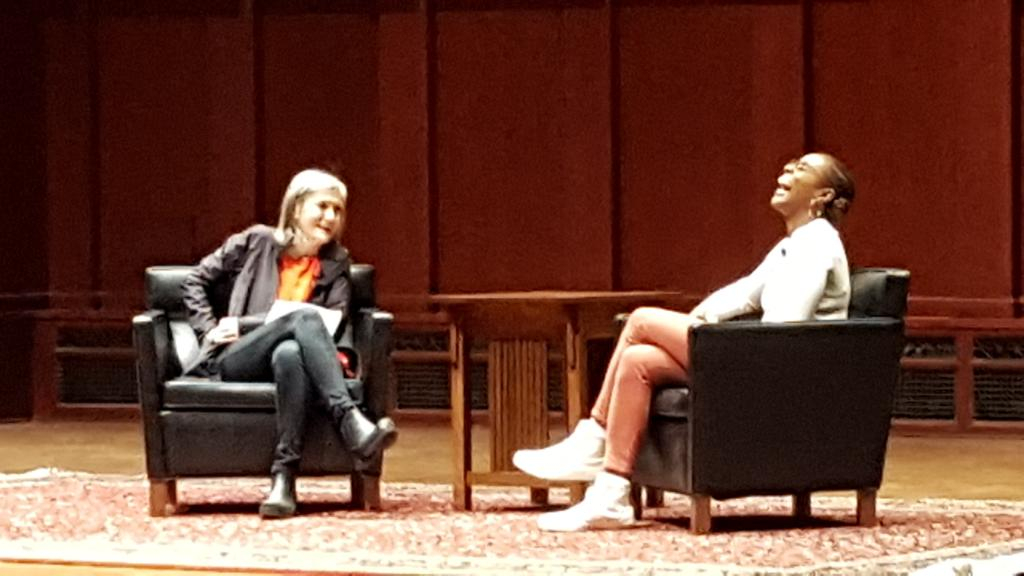 #IssaRae @ #umich #umichmlkday2017 great conversation with journalist #AmyGoodman. #happyMKLday https://t.co/3a4k1g9z8l