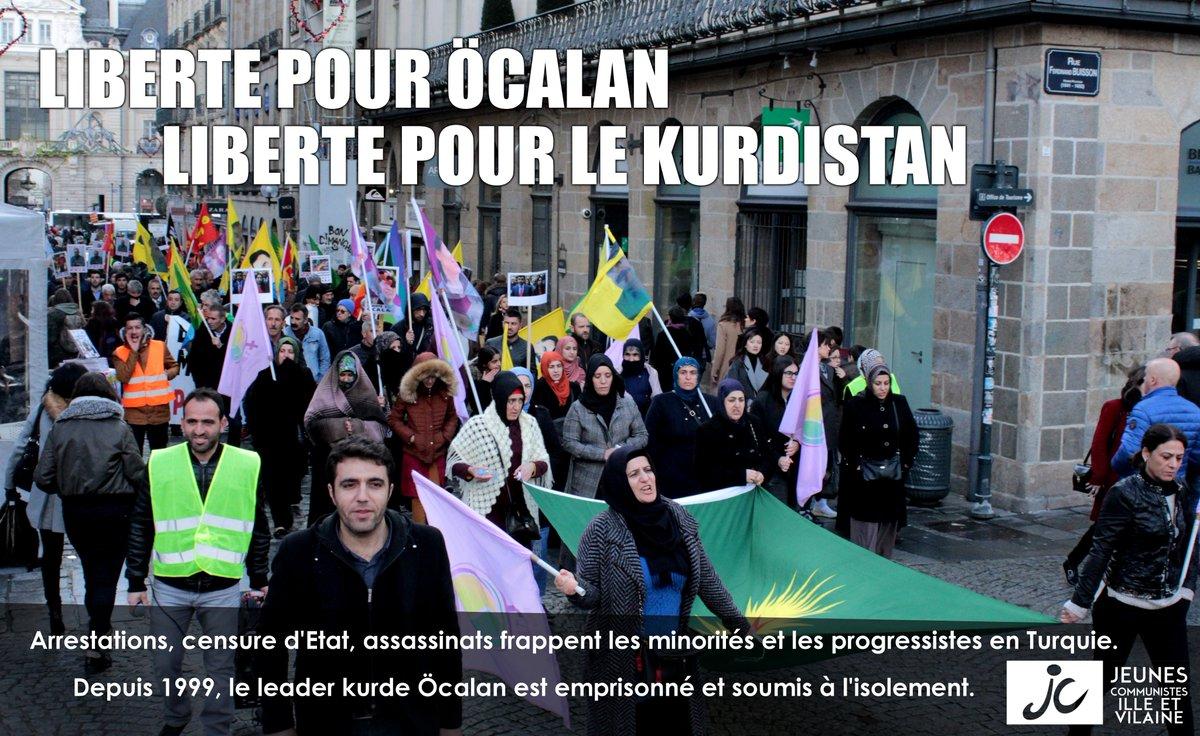 #Rennes Nous marchions samedi aux côtés de nos camarades #Kurdes, pour la liberté d&#39;#Öcalan, pour la liberté du #Kurdistan @AmKurBret<br>http://pic.twitter.com/rC0YFhJyNx