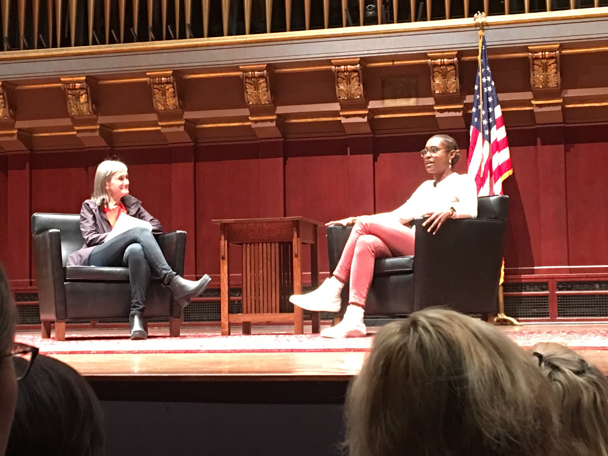 Issa Rae being interviewed by the legendary Amy Goodman ...#UMichMLKDay2017 #MLKDAY https://t.co/Yxrn8cD2L7