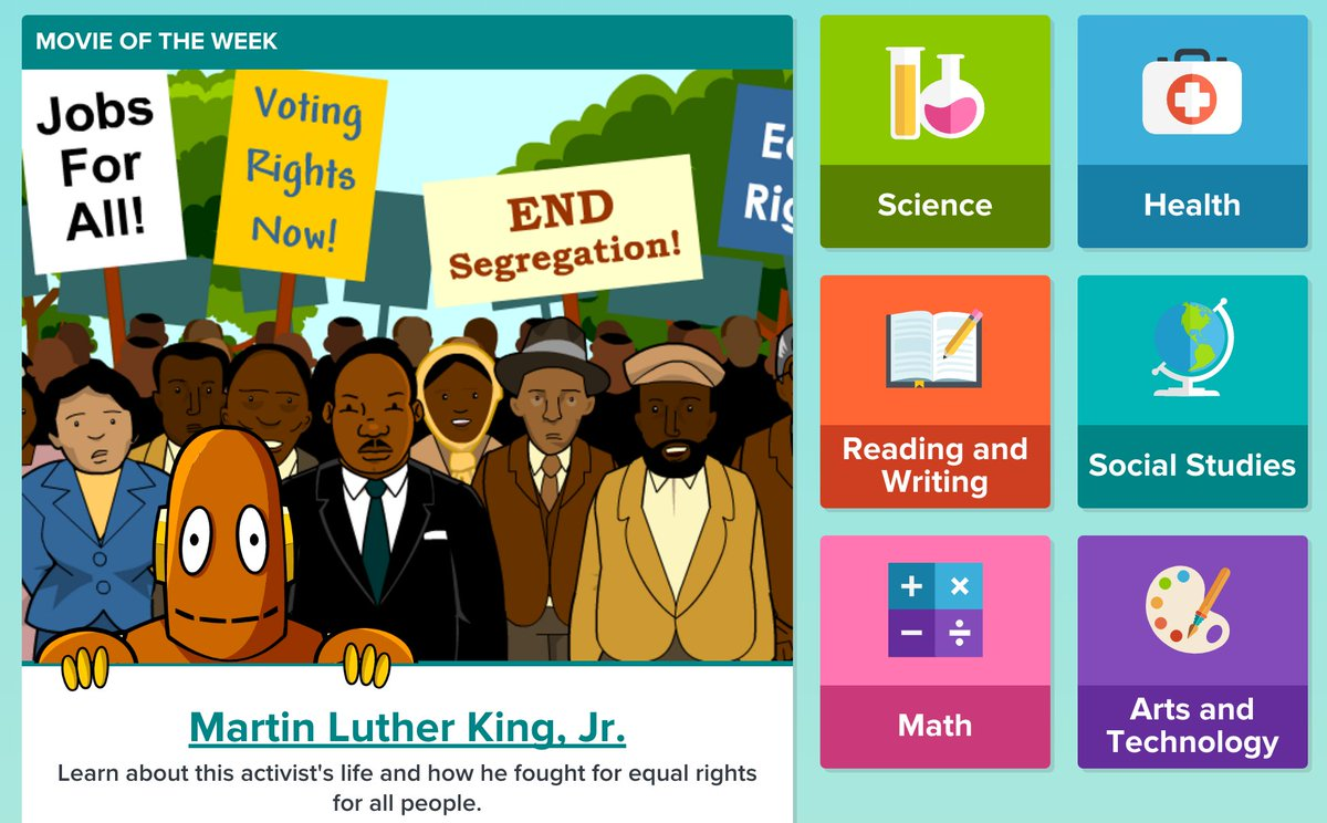 Uncategorized Brainpop Mlk brainpop on twitter mlk day introduce k 3 kids to the iconic civilrights leader with jr s movie of week https