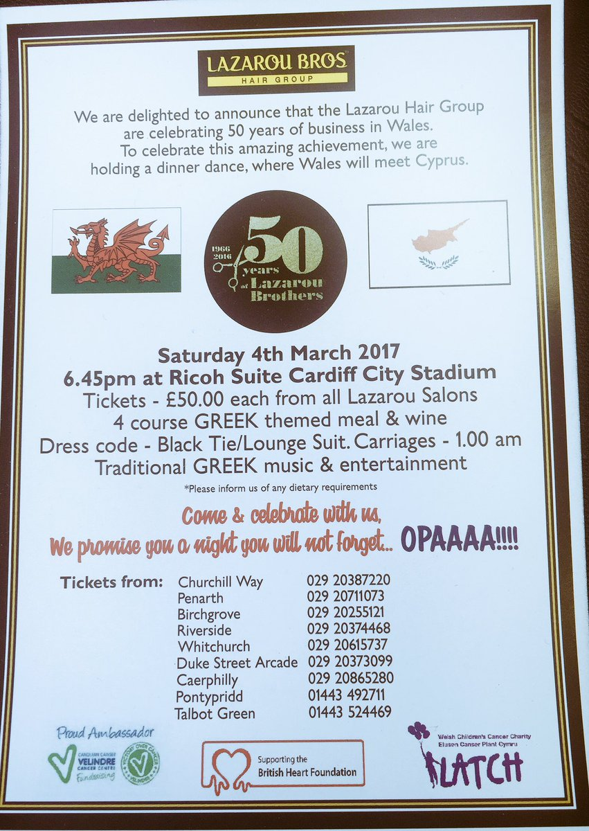 #celebrate with us our #achievment 50 #years in #business #tickets on #sale #cyprus meets #wales #letsdancethenight #greek #welsh #style <br>http://pic.twitter.com/7KoqgQSe1B