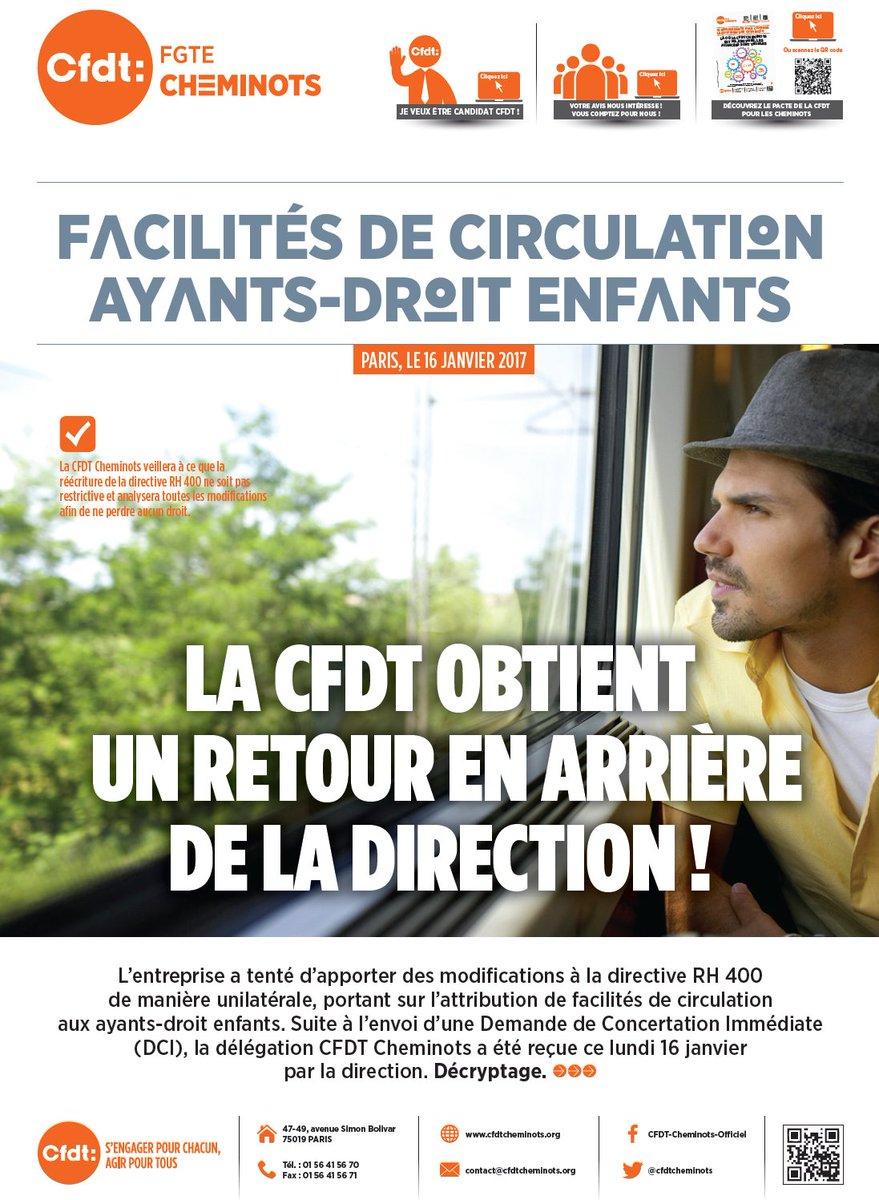 [Tract] Facilités de circulation : la #CFDT obtient un retour en arrière de la direction #SNCF #DialogueSocial   http://www. cfdtcheminots.org/facilites-de-c irculation-ayants-droit-enfants/ &nbsp; … <br>http://pic.twitter.com/LelYC34lwz