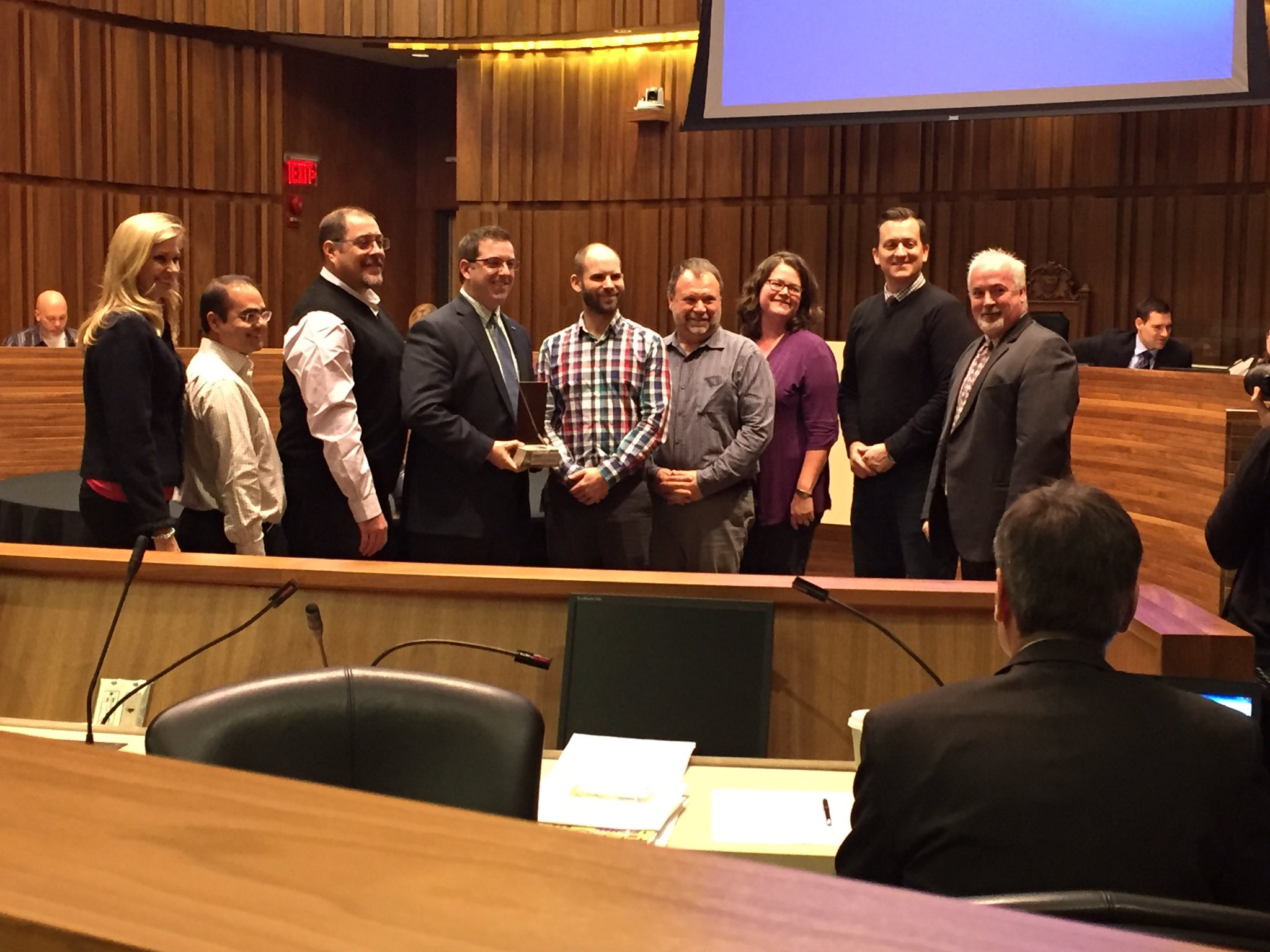"Here's @CamGuthrie, @DanGibsonCllr & @cityofguelph staff accepting a ""Brownie"" https://t.co/zVf0AaqzH3"