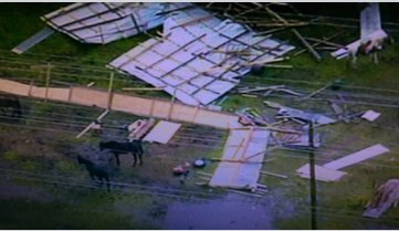 Horse barn blown apart? Air 11 spotted the storm damage near Jersey Village. Looks like the horses are OK. KHOU11