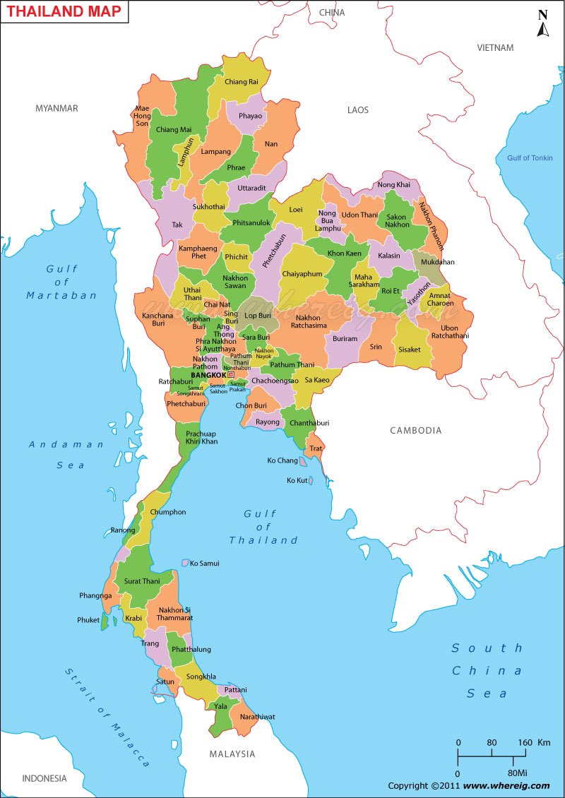 detailed maps of thailand - HD800×1130