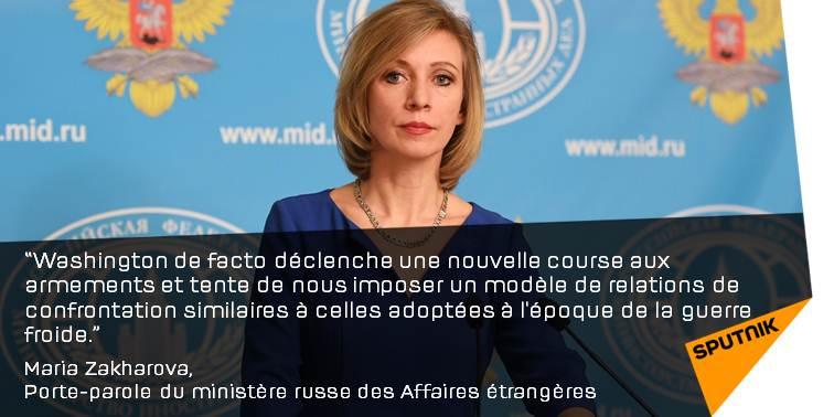 Les #USA déclenchent de facto une nouvelle «course aux #armements»  http:// sptnkne.ws/dqHH  &nbsp;   #Zakharova #Russie<br>http://pic.twitter.com/ZsCxH51Gsu