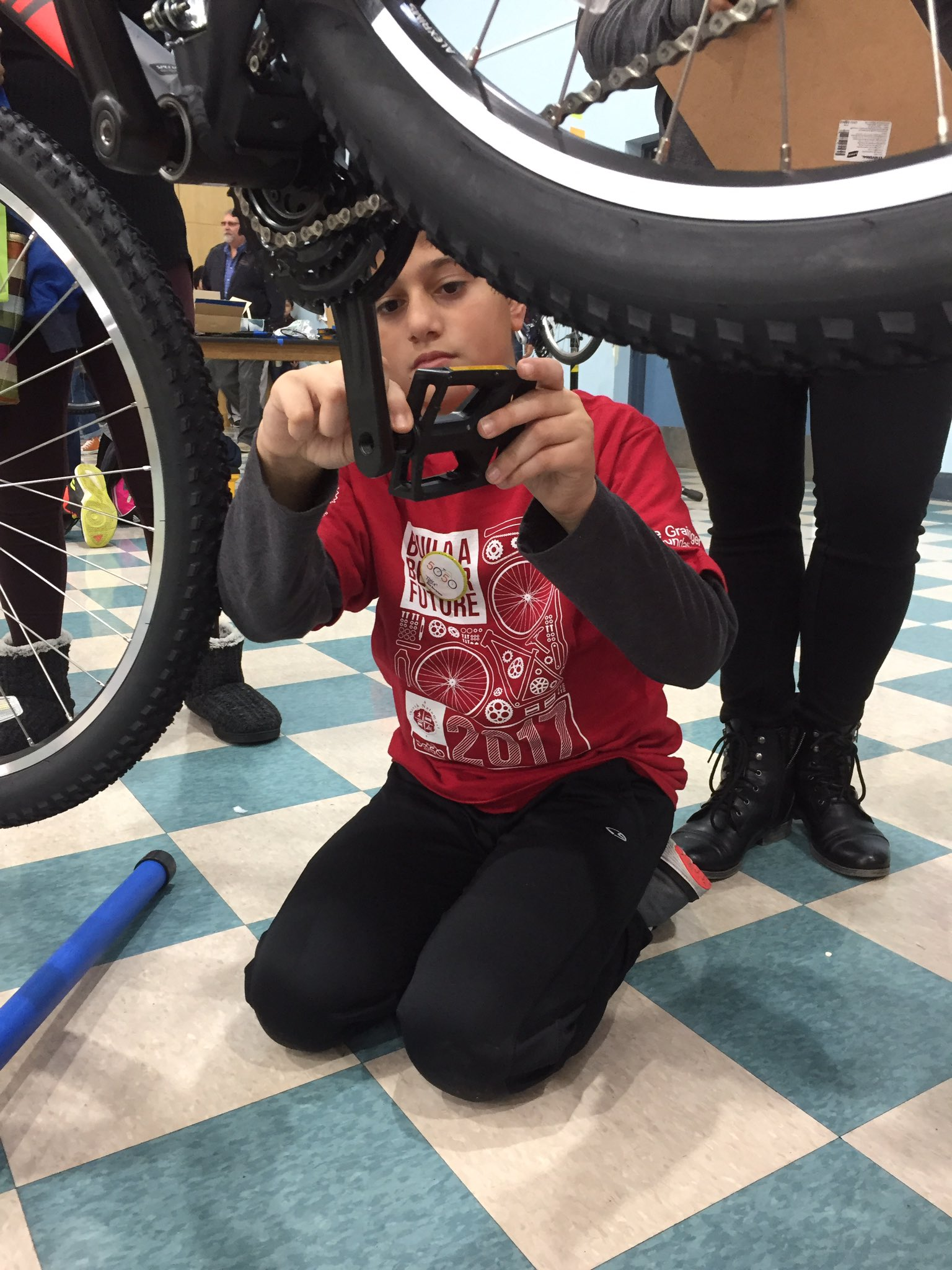 Such a great day with our client @NorthNatomasTMA.  Kids had a blast building their new bikes! #50Bikes2017 https://t.co/B8WAy82TKP