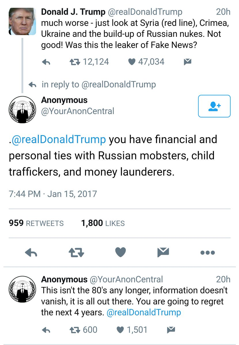 Apparently Trump&#39;s shenanigans yesterday threw Anonymous right over edge.   #TheResistance #TrumpLeaks #DemForce #MLKDAY  #socialjustice<br>http://pic.twitter.com/iLRpOGCC0N