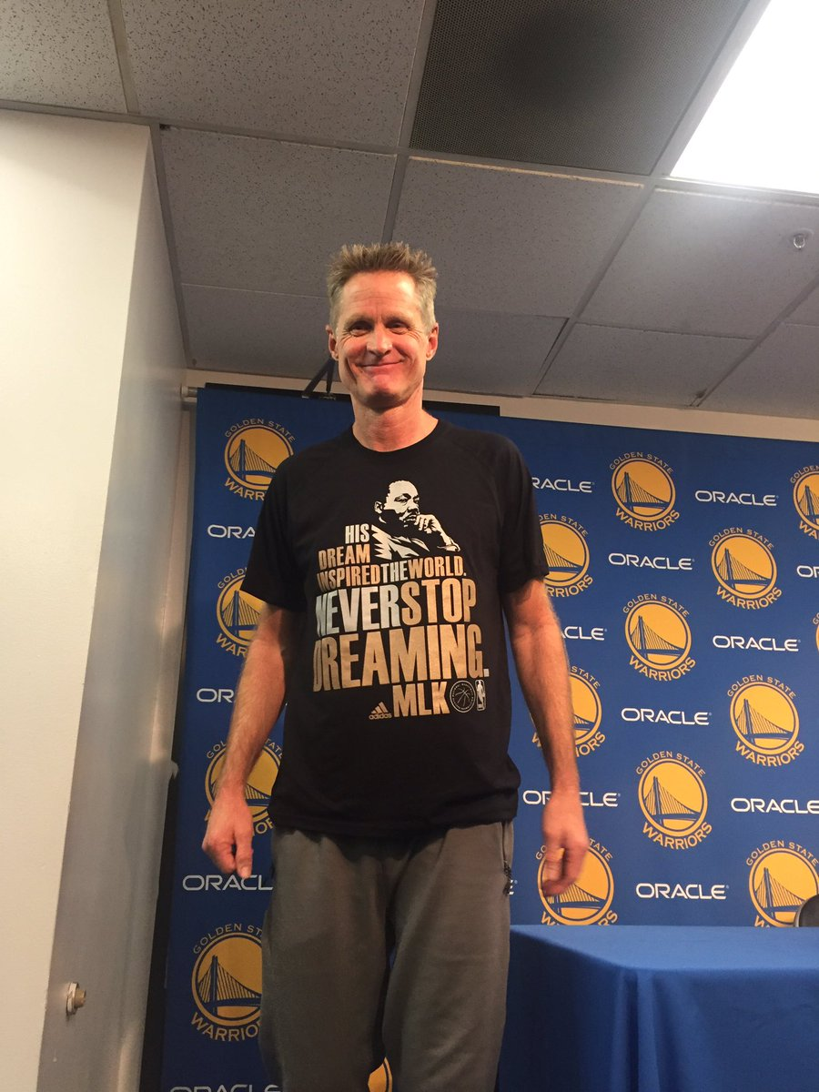 Kerr rocking the NBA MLK shirt. Quoted the Reverend: 'we may have all come here on different ships but we're all in the same boat.'