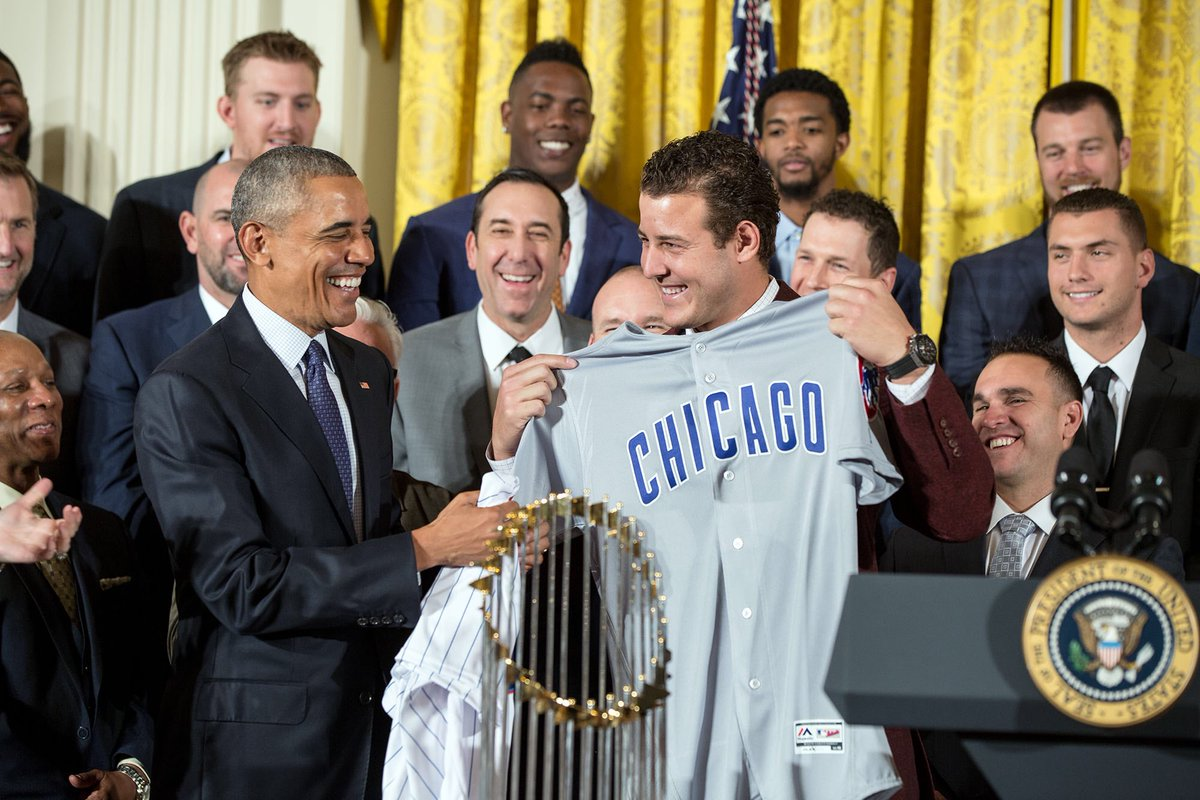 From one 44 to another, thanks for finally giving @FLOTUS and generations of hopeful fans a @Cubs championship.