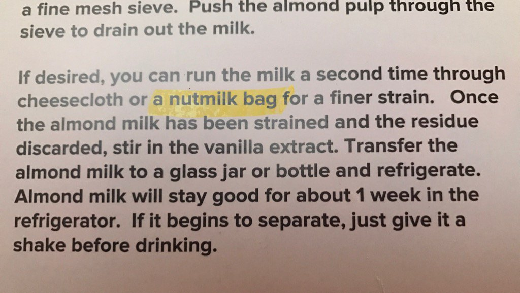 I thought I'd make almond milk. But it wants me to do unspeakable things using my nutmilk bag. Sick animals. https://t.co/AzLpQoikbb
