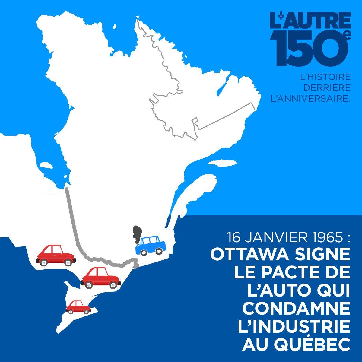 16 janvier 1965 - Le Canada signe le Pacte de l'automobile avec les États-Unis, assurant la suprématie ontarienne en ce domaine #Canada150  <br>http://pic.twitter.com/SpaJmQnqXo
