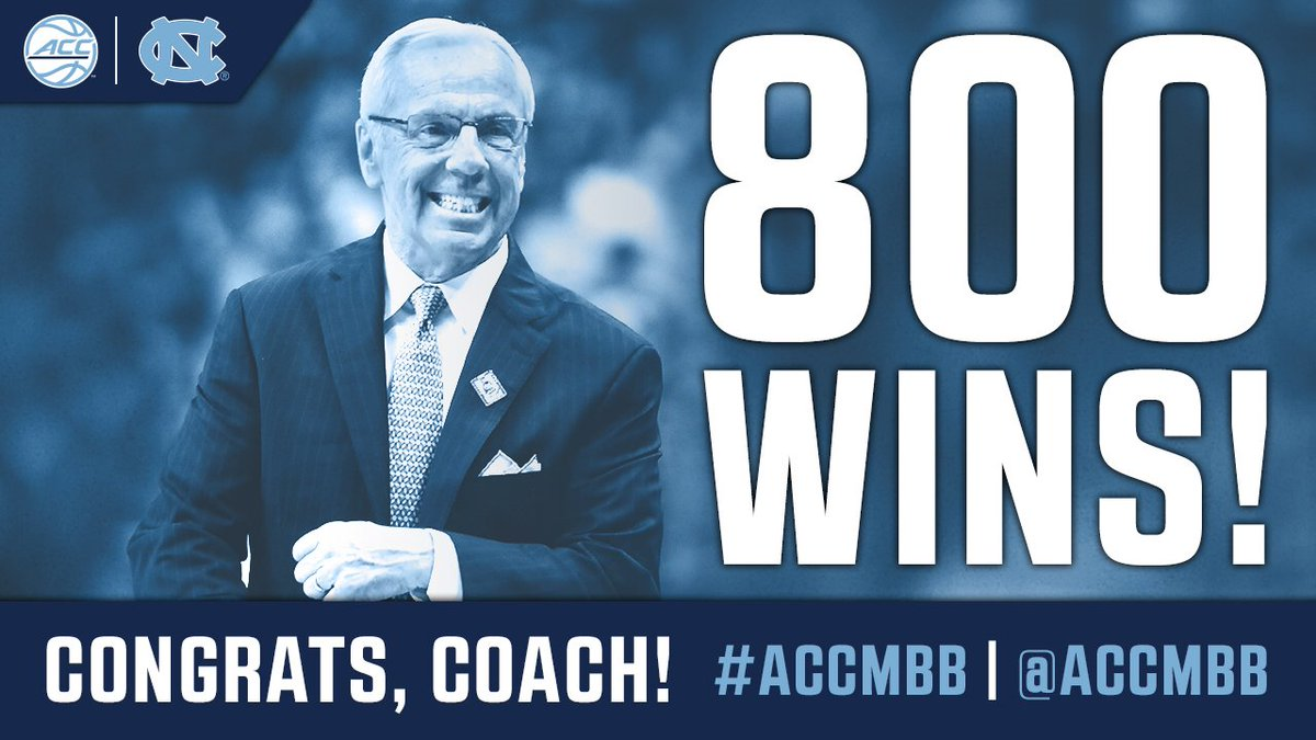 Congrats to @UNC_Basketball Coach Roy Williams, the ninth Division I head coach with 800 career victories! #ACC #ACCMBB #GoHeels <br>http://pic.twitter.com/vBt5Y2MmHa