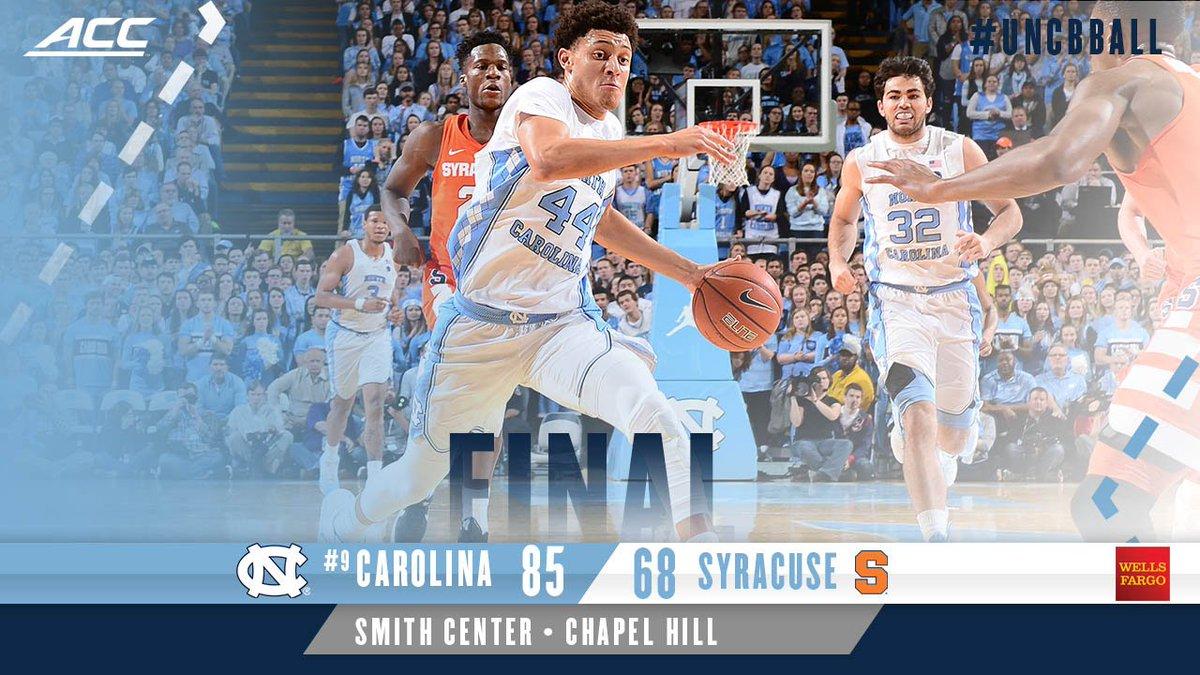 Carolina Basketball On Twitter Final Score Unc 85 Syracuse 68