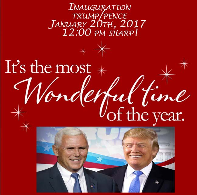 """4 MORE DAYS:  It's the """"Most Wonderful Time Of The Year!""""  #TrumpPenceInauguration #Inauguration 1/20/2017! https://t.co/NpScHvx1Yi"""