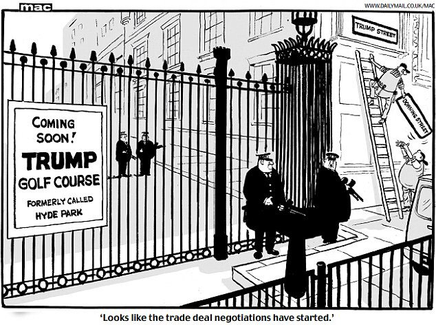 Donald Trump and Theresa May, cartoon