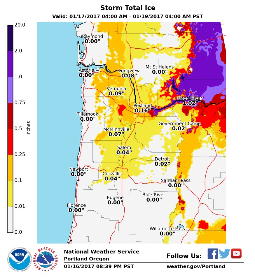 9pm Update: Advisory upgraded to Ice Storm Warning for PDX metro. 0.1-0.25&quot; for most. 0.25-0.5&quot; east of I-205, more closer to gorge. #pdxtst <br>http://pic.twitter.com/unFg0C7wOx
