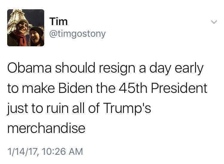 Petty? Yes; Still hilarious? Definitely #TheResistance #NotMyPresident...