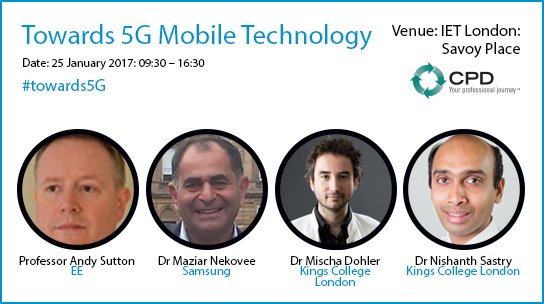 'Towards 5G Mobile Technology' event 25 Jan @960sutton @nishanthsastry @MischaDohler @MaziarNekovee #towards5G https://t.co/sF6rM5PY9I https://t.co/HnYujIbhXf