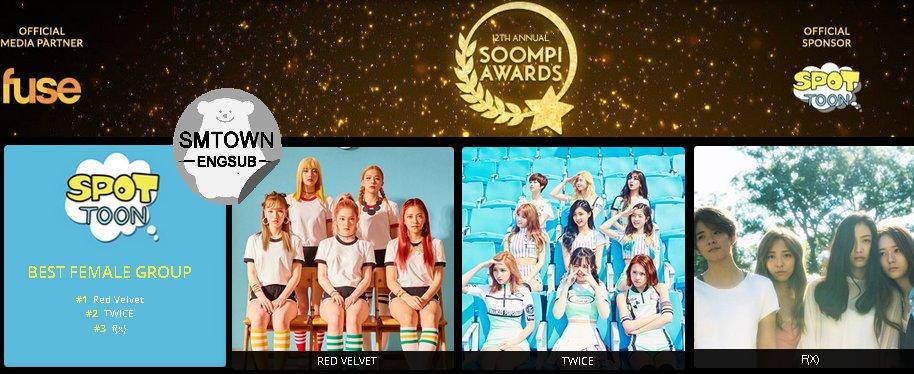 #SoompiAwards Best Female Group Vote Result: #1 Red Velvet #2 Twice #3 f(x) <br>http://pic.twitter.com/frcfI9pJNp