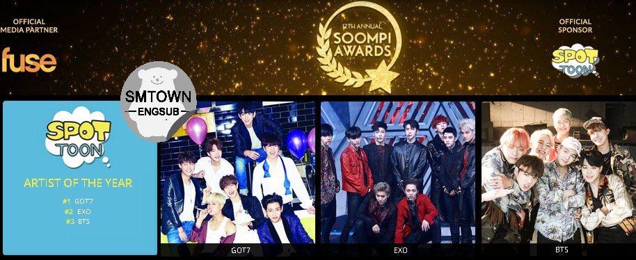 ผลโหวต #SoompiAwards  #GOT7  #1 Artist of the year #1 Fuse music video of the year #1 Best choreography #2 Best male group cr;SMTownEngSub<br>http://pic.twitter.com/QxG642Fg9C