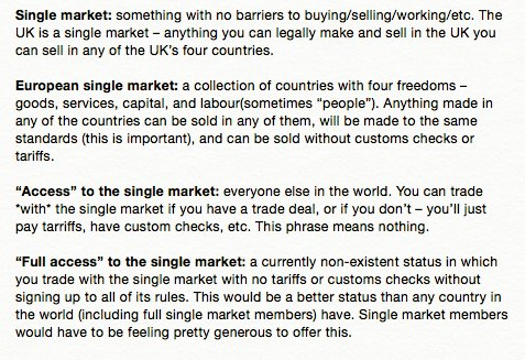 """Also: here is my cut-out-and-keep guide to the single market and """"access to"""" the single market. https://t.co/A0NZspWTFV"""