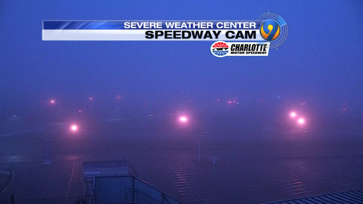 Watching dense FOG from our Speedway Cam this morning. This could be an issue through 10am-11am. @wsoctv