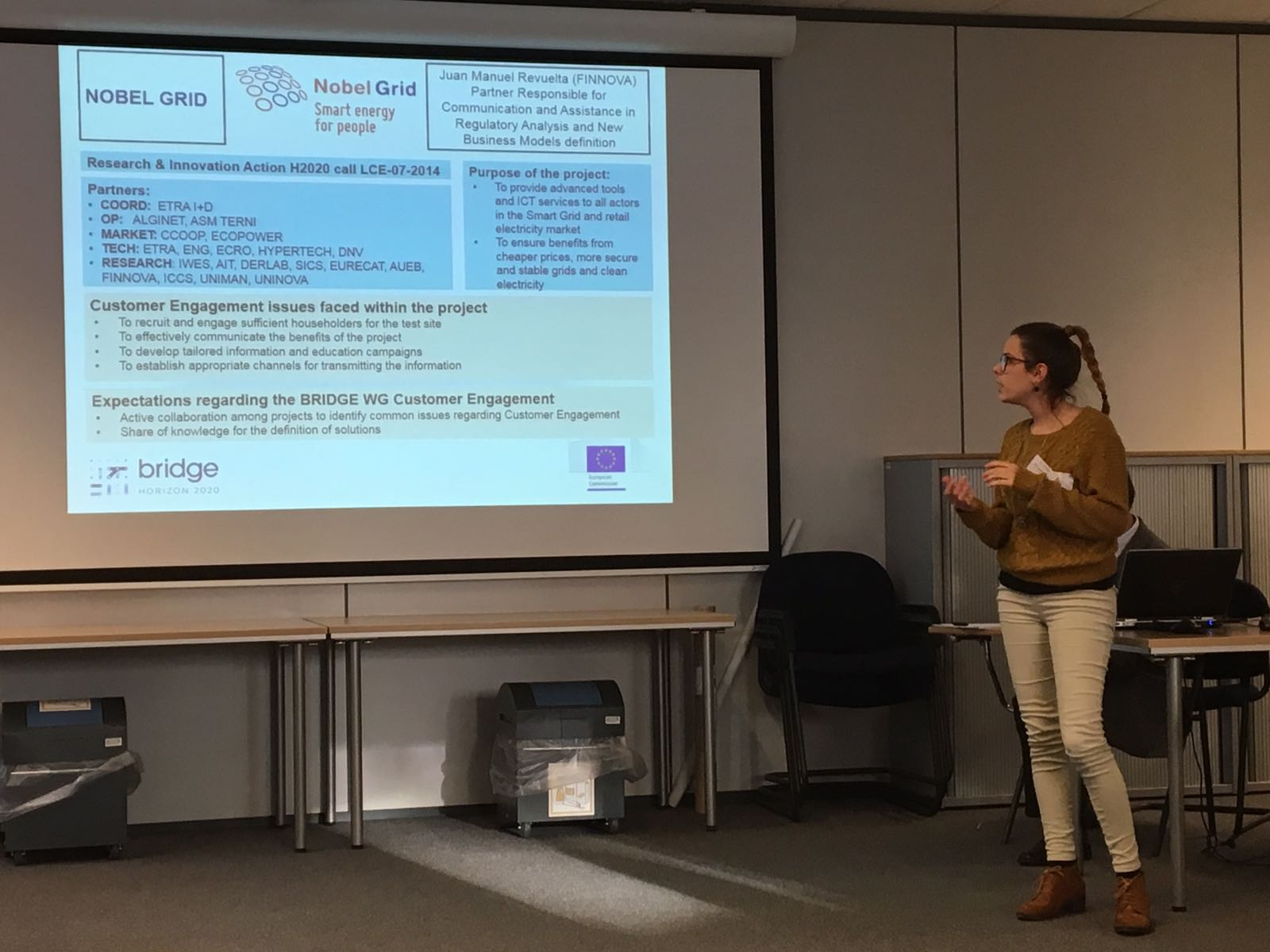 Our colleague @AnaNavaTazo from @Finnovaregio presented Nobel Grid in the Customer Engagement WG in DG ENER #BRIDGE_EU @EU_Commission https://t.co/p6YY7U5pmr