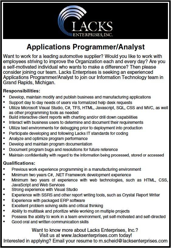 See Details At: Http://www.tribunejobnetwork.com/job/21031180/programmer  Analyst Job In Grand Rapids Mi?sourceu003d1 U2026pic.twitter.com/iougj8J9xd