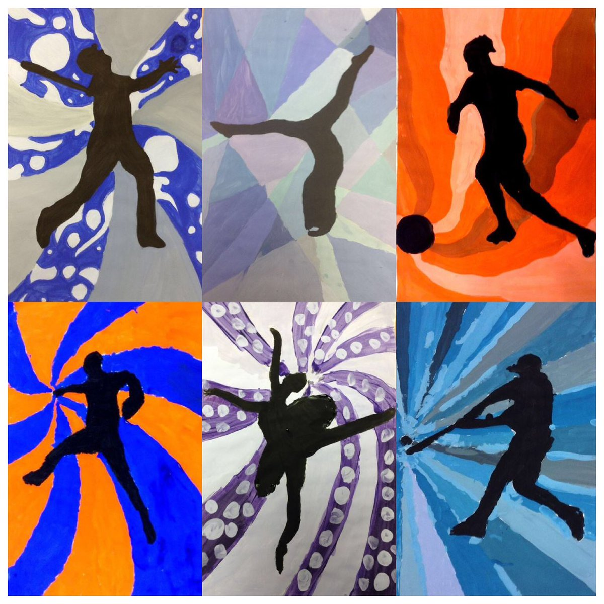 Silhouettes in Motion @MsMoncatch #mannschool #colortheory #design #paint #art #baseball #soccer #dance #gymnastics #bicycling #ballet<br>http://pic.twitter.com/Gf2ywtHPyn