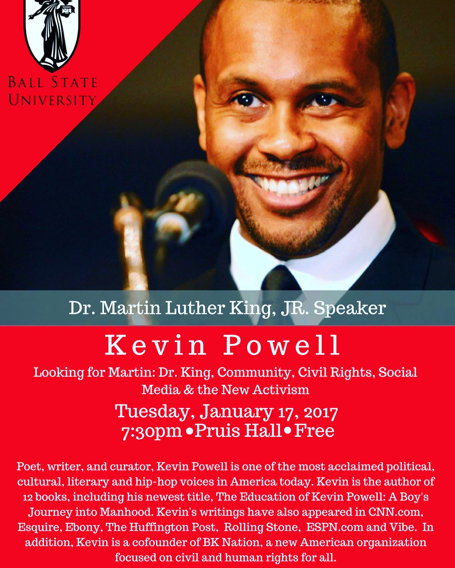 Tonight is the night! Join Kevin Powell in Pruis Hall tonight at 7:30! https://t.co/eA4q68zf8d