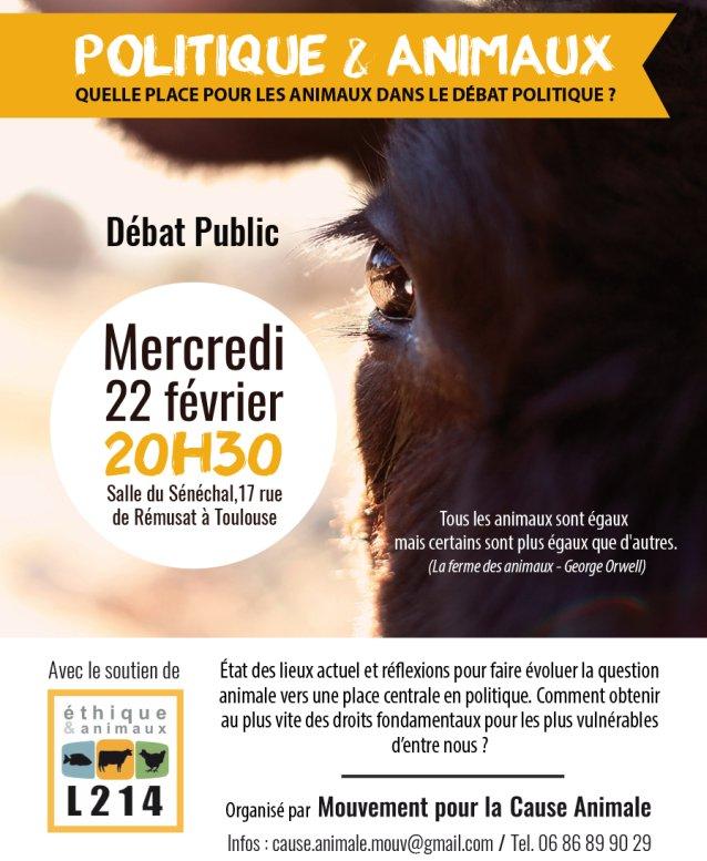 22 février à Toulouse @PartiAnimaliste à débat sur place #animaux en #politique organisé par antenne @L214 locale  https://www. facebook.com/events/1430232 260350138/ &nbsp; … <br>http://pic.twitter.com/OBQgey7SbI