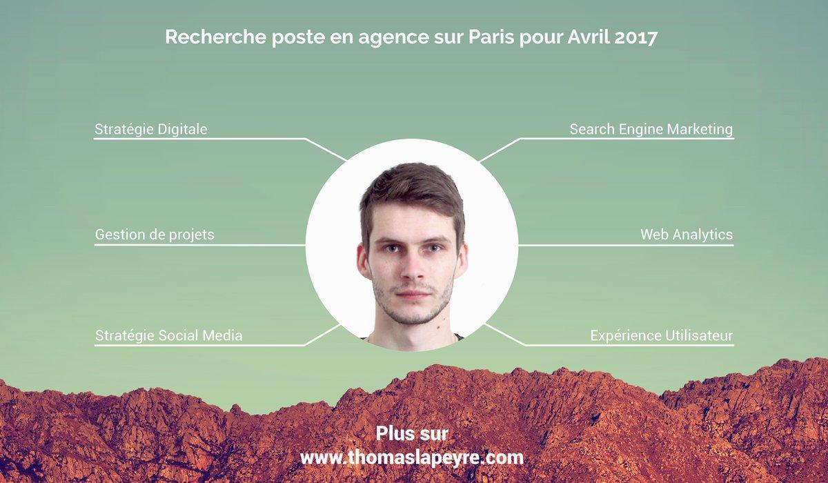 Recherche #emploi en agence de #Communication, dans le #Digital à #Paris pour Avril :  http:// bit.ly/thomaslapeyre  &nbsp;      #PleaseRT #i4emploiR<br>http://pic.twitter.com/HaiVYQa0hC