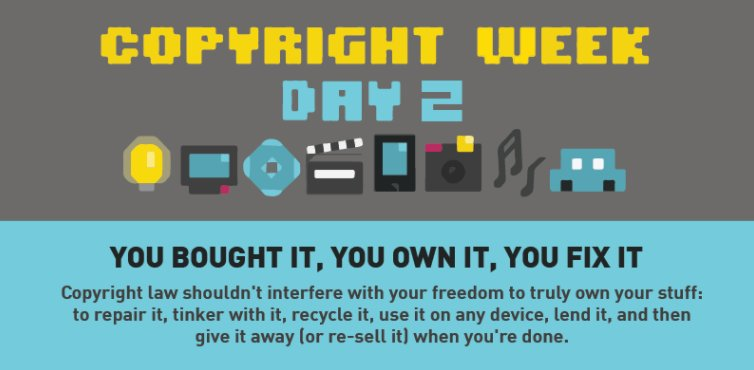 Celebrate day 2 of #CopyrightWeek by telling Congress to fix the #DMCA! https://t.co/eOCcUzqDpg #1201Reform https://t.co/vEwbfbZrn4
