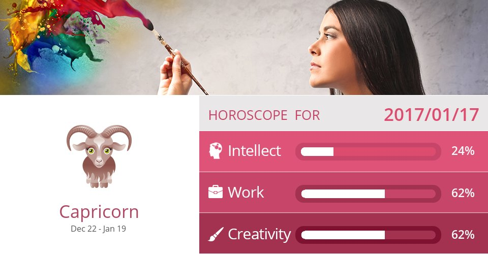 Jan 17, 2017: Work & Creativity => See more: https://t.co/CiJVVVS19y Accurate? Like = Yes #Capricorn #Horoscope https://t.co/OxFA63gWm3
