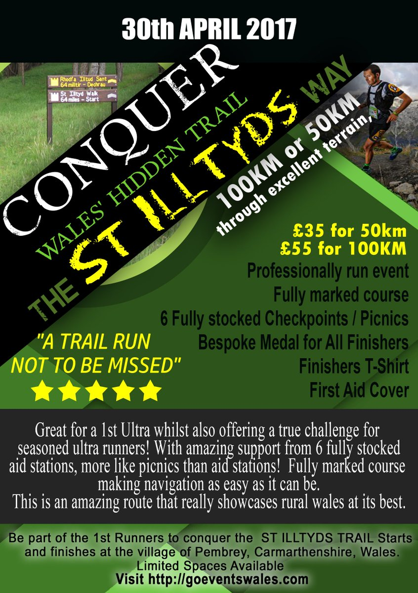 Still spaces left in the #stilltydstrail 50K &amp; 100K #ultramarathon Sign up at  http:// goeventswales.com  &nbsp;   &amp; be part of an epic day #ultrarunning<br>http://pic.twitter.com/pEUTEAoyCV
