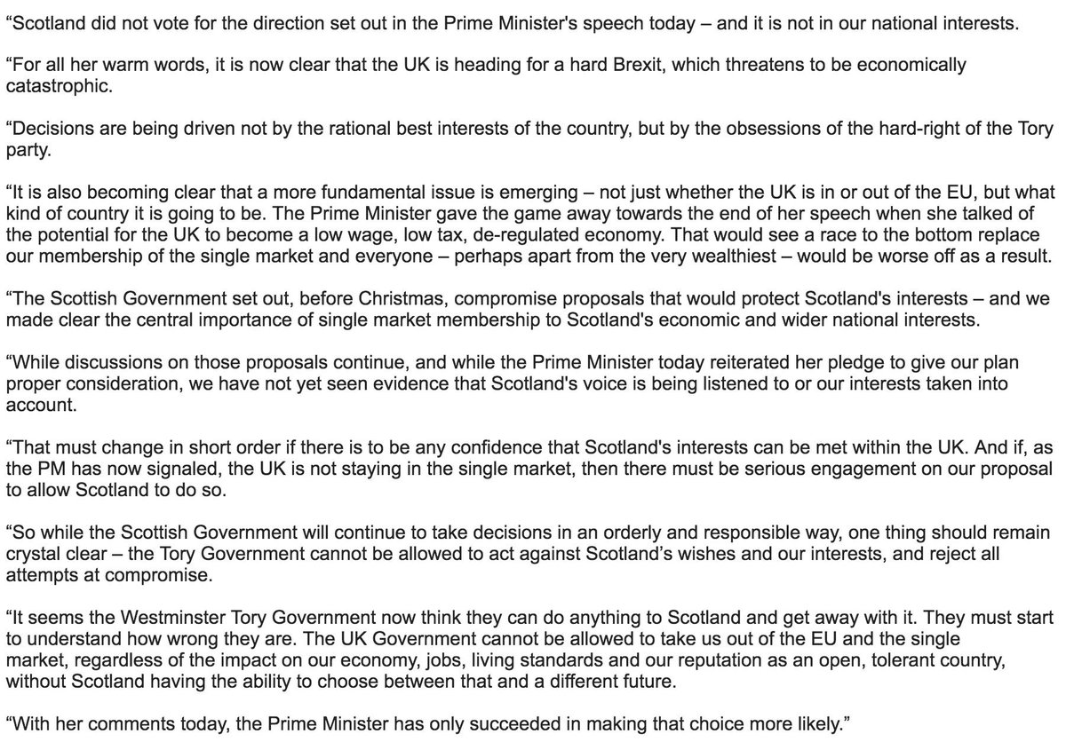 First Minister of Scotland @NicolaSturgeon's response to the Prime Minister's speech on #Brexit. https://t.co/VnL7KGKON3