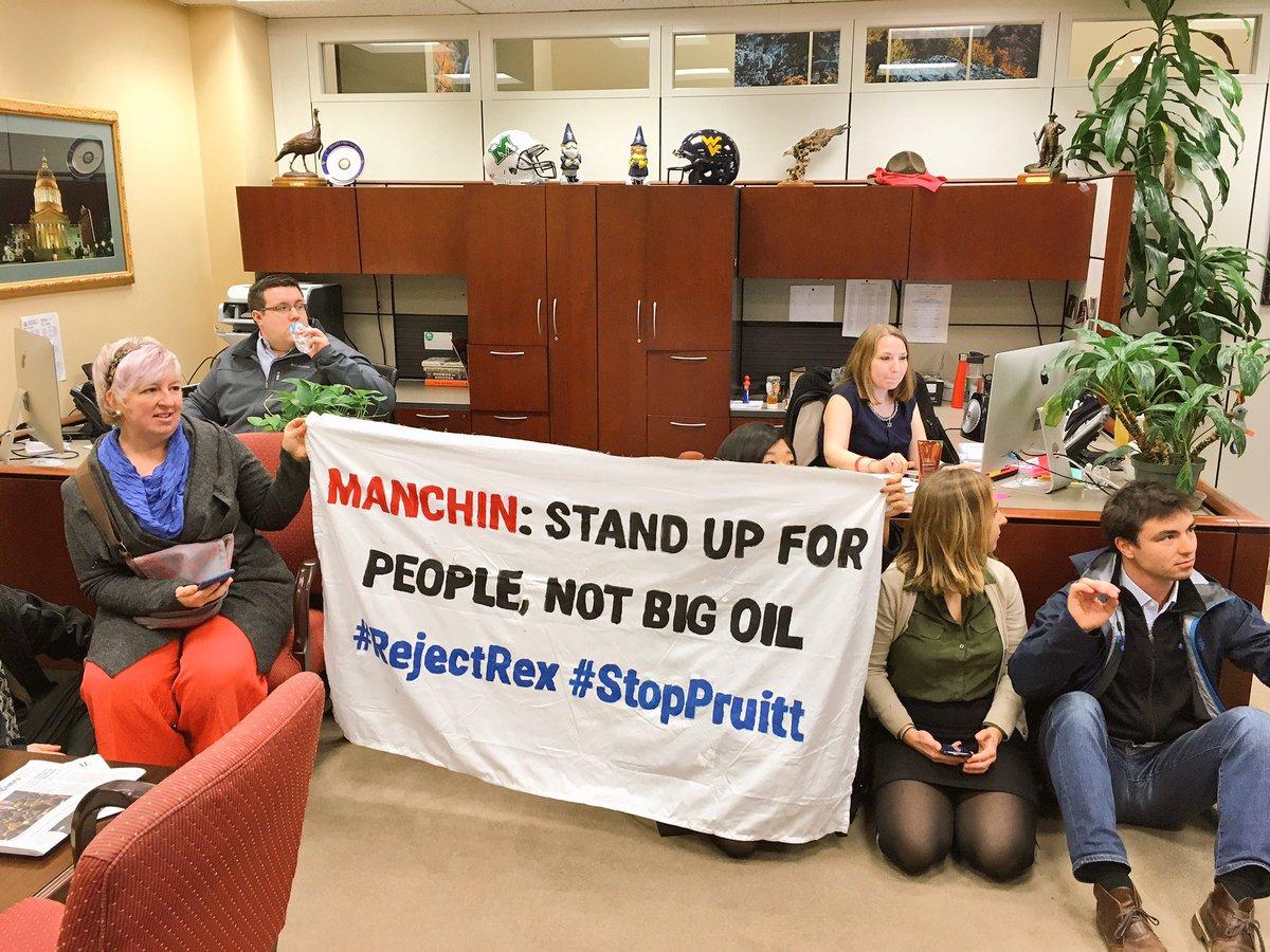 BREAKING: 25 people occupying @Sen_JoeManchin&#39;s office – demanding that he vote against Rex #Tillerson &amp; #PollutingPruitt! #RejectRex <br>http://pic.twitter.com/fIp5xbzJoi