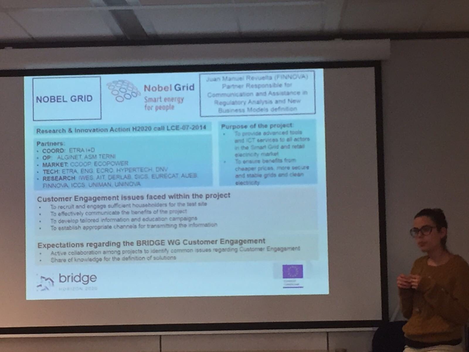"Our partner @Finnovaregio presents @NobelGrid benefits and pilot sites at #Bridge_EU meeting ""Customer Engagement working group"" #H2020 https://t.co/4K6DnBOxcM"