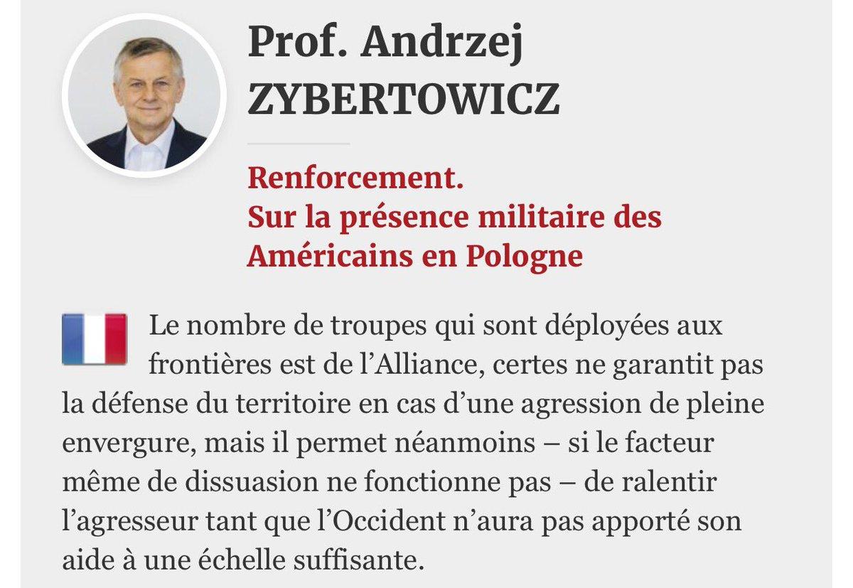 Prof.Andrzej ZYBERTOWICZ conseiller du Président de la #Pologne, sur la présence militaire des Américains en Pologne  https:// wszystkoconajwazniejsze.pl/prof-andrzej-z ybertowicz-renforcement-sur-la-presence-militaire-des-americains-en-pologne/ &nbsp; … <br>http://pic.twitter.com/Um6yiGP5Ur