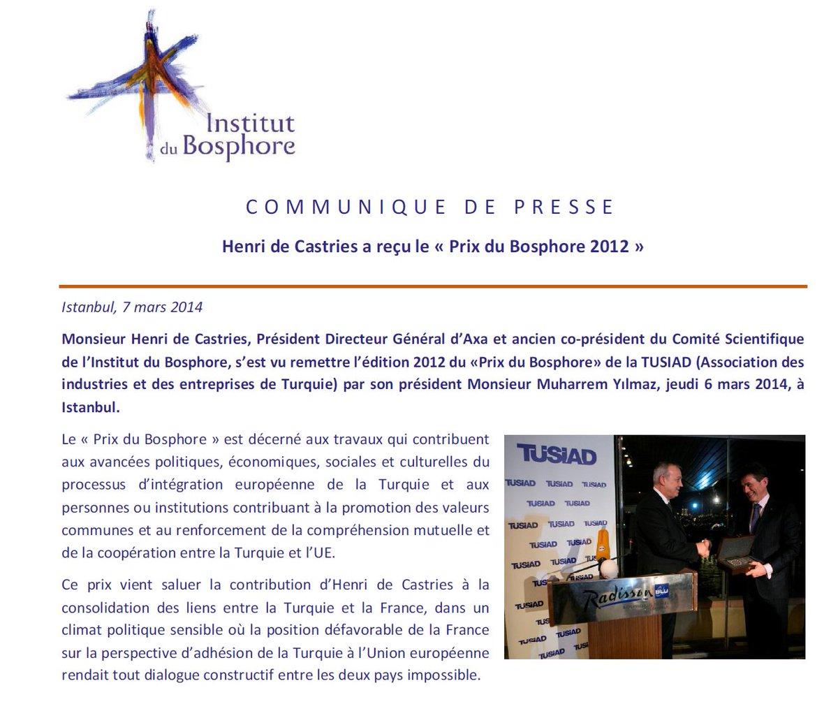 Henri de Castries, proche de @FrancoisFillon a reçu le prix &quot;Bosphore&quot; à Istanbul pr son action visant à faire entrer la #Turquie ds l&#39;UE. <br>http://pic.twitter.com/zDWJzzapAU