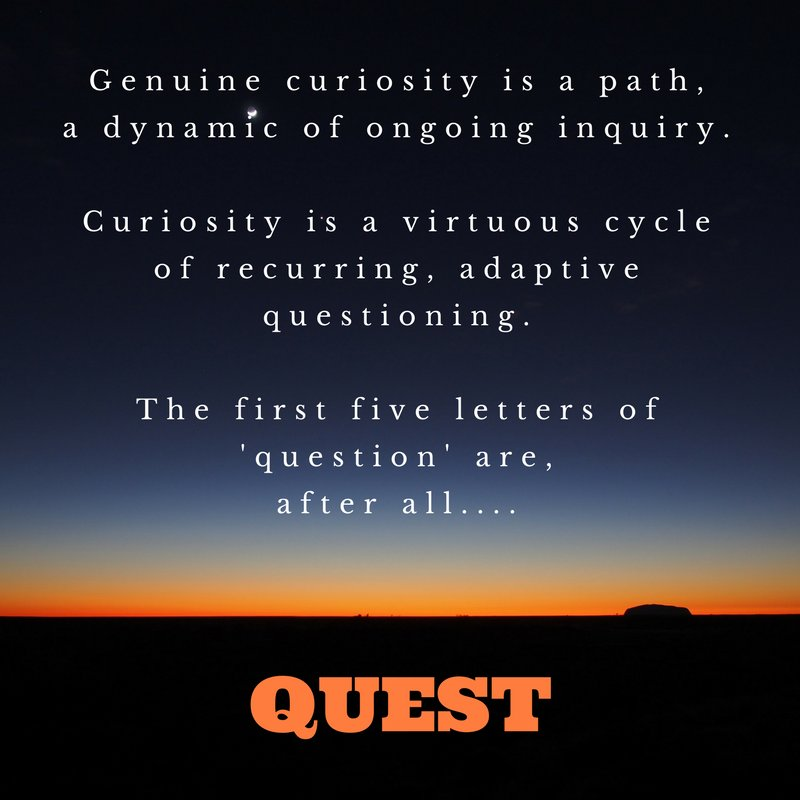 Genuine #curiosity is a path, an ongoing inquiry, a cycle of adaptive  #questions. The first 5 letters of 'question' are, after all #QUEST https://t.co/ynOFyrKFQb