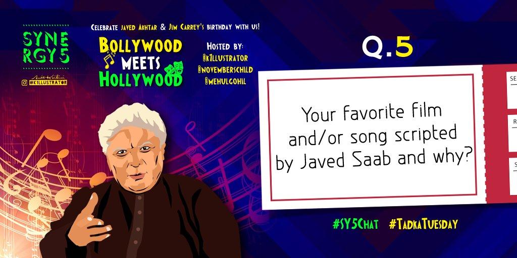 Q5: Your fav film &amp;/or song scripted by @Javedakhtarjadu and tell us why. :)   @romspeaks @K1llustrator   #SY5Chat <br>http://pic.twitter.com/hxbJXA7z0f