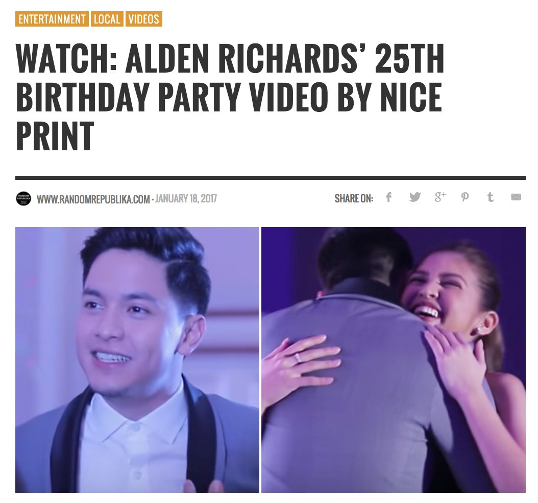 WATCH: Alden Richards&#39; 25th Birthday Party Video by Nice Print  https:// randomrepublika.com/2017/01/watch- alden-richards-25th-birthday-party-video-by-nice-print/ &nbsp; …  #ALDUBStayInLove #AldenAt25 <br>http://pic.twitter.com/ICQRGZyojg