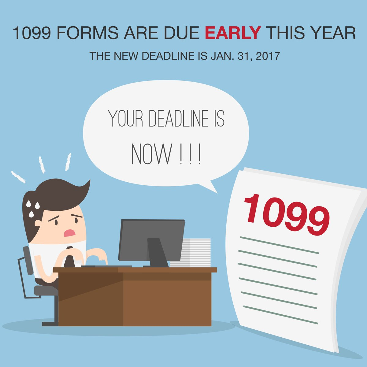 1099forms hashtag on twitter 1099forms are due a month early on jan 31st starting 2017 theres one filing deadline for both 1099 misc w2 taxtuesday kacc taxespicitter falaconquin