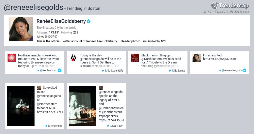 RenéeEliseGoldsberry, @reneeelisegolds is now trending in #Boston  https://t.co/4mkG17lbuO https://t.co/JutLZdJaV1