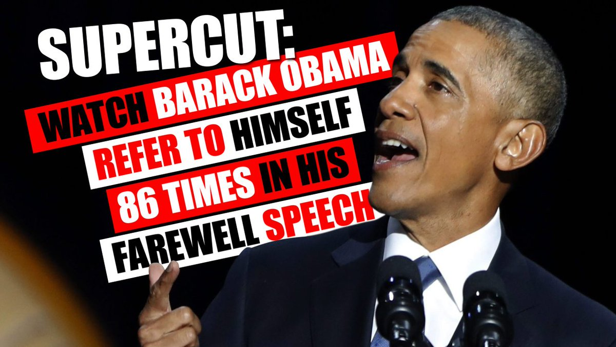 Supercut: #Obama refers to himself 86 TIMES in farewell speech!  http://www. therebel.media/watch_obama_re fers_to_himself_86_times_in_farewell_speech &nbsp; …  | #MAGA #tcot<br>http://pic.twitter.com/XRI8684GyO