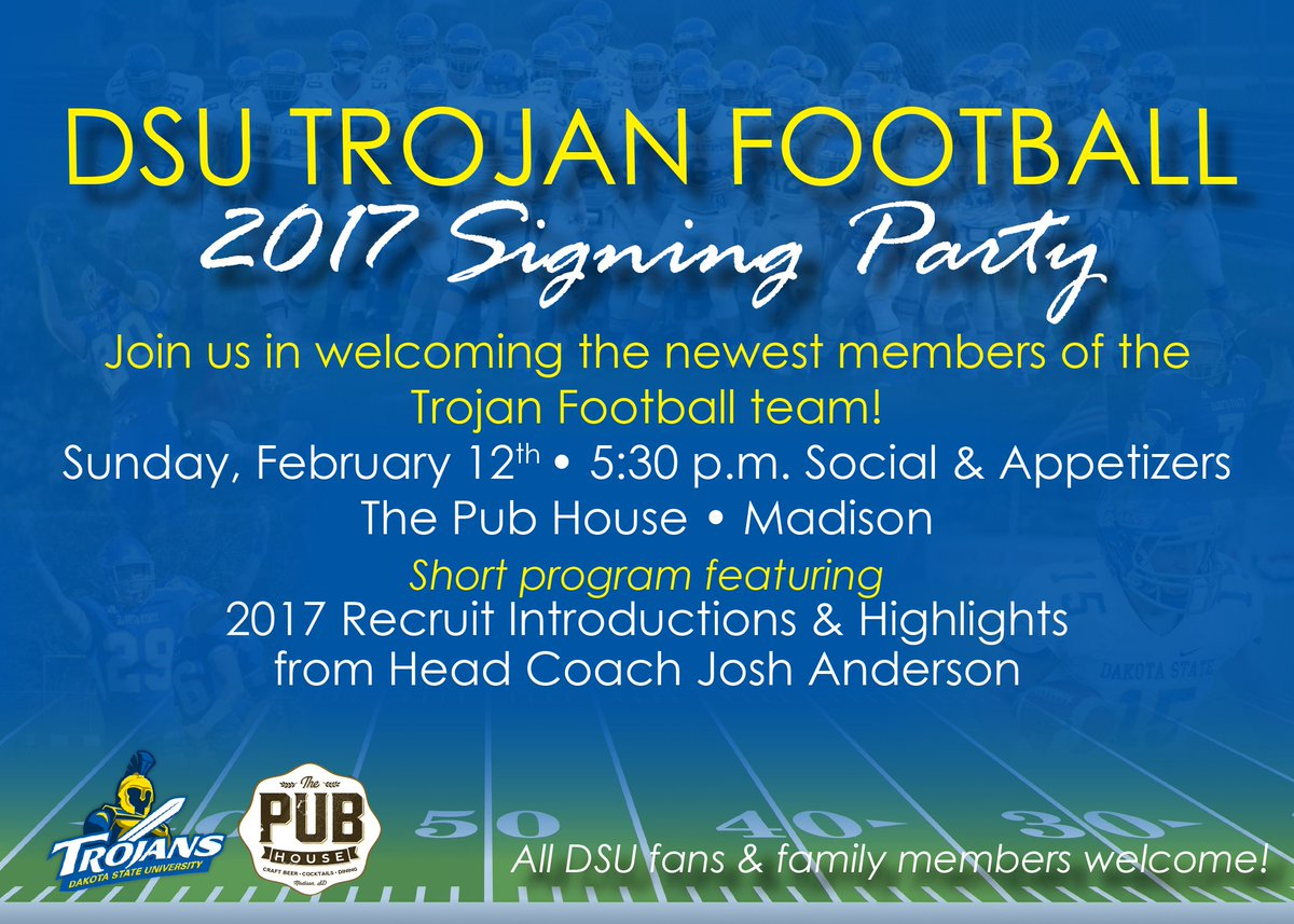 Mark your calendars for our 2017 #FutureTrojans Signing Party on February 12th, starting at 5:30 pm. All of Trojan Nation are welcome!!!! <br>http://pic.twitter.com/sJxdGSfB2f